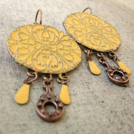 Oriental Enamel Earrings