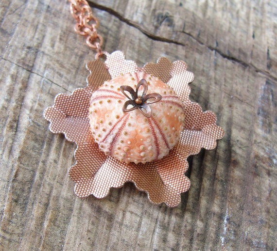 Sea Urchin Necklace - Pink Copper Vintage Flower Jewelry Seashell necklace