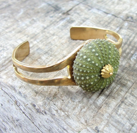 Sea Urchin Collection - Art Deco Vintage Green Cuff
