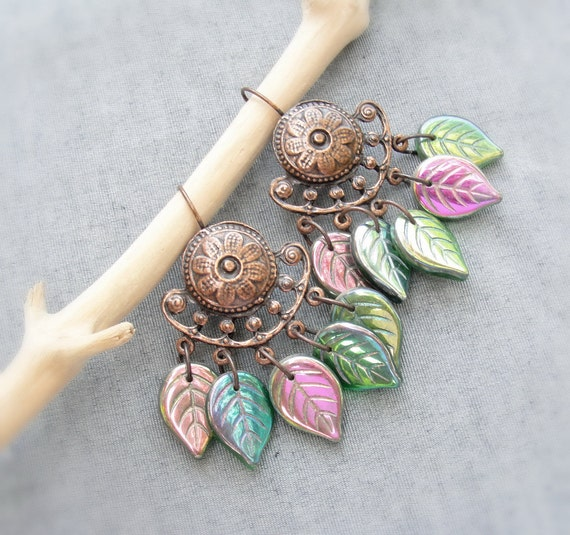 Peacock Leaves Earrings - Czech Glass Leaves and Copper