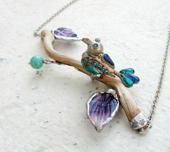 Paradiso Necklace - Wood, Turquoise, Amethyst