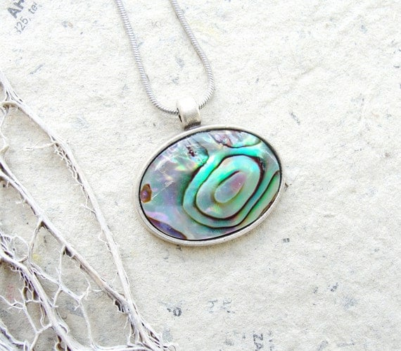 Abalone Lake Necklace - Abalone shell with Silver plated Pendant