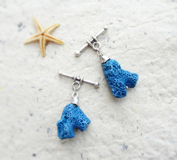 RESERVED for A.B. Sea Treasures Collection - Dark Blue Coral Cufflinks