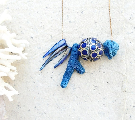 Blue Coral Necklace with Mother of Pearl, Enamel Earthbound