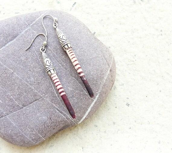 Striped Sea Urchin Spine Earrings