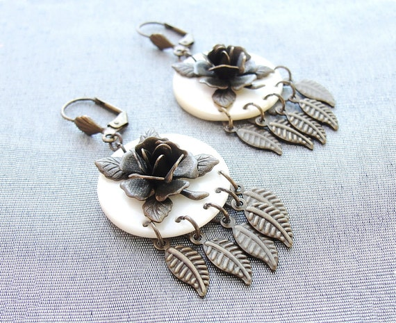 Flowers of Love Earrings - Brass Roses and Leaves with Mother of Pearl