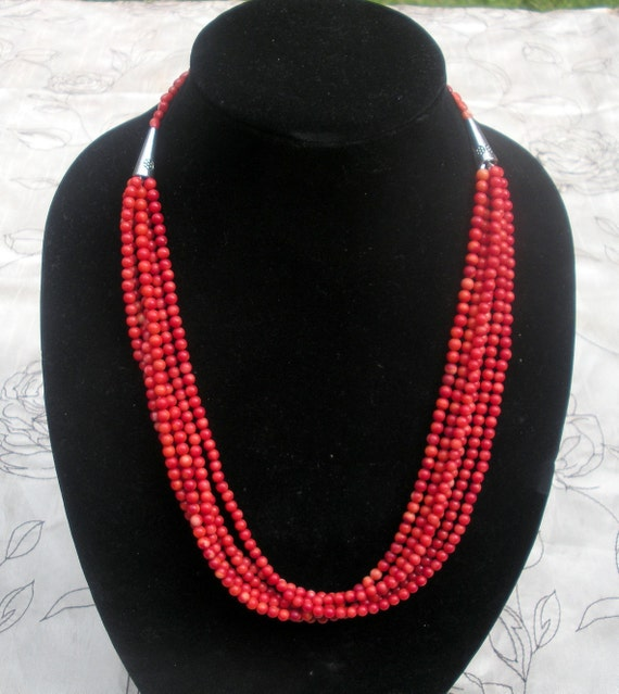 Coral Necklace -Natural Red Coral Long Multistrand Necklace