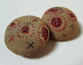 Embroidered Fiber Art Buttons - Rustic - Hand Stitched