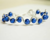 True Blue Freshwater Pearl Wave Bracelet, Bridal Gift, Wire Wrapped Jewelry