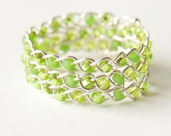 Peridot Lime Green and Silver Braided Ring, Bridal gifts, Wire Wrapped Ring