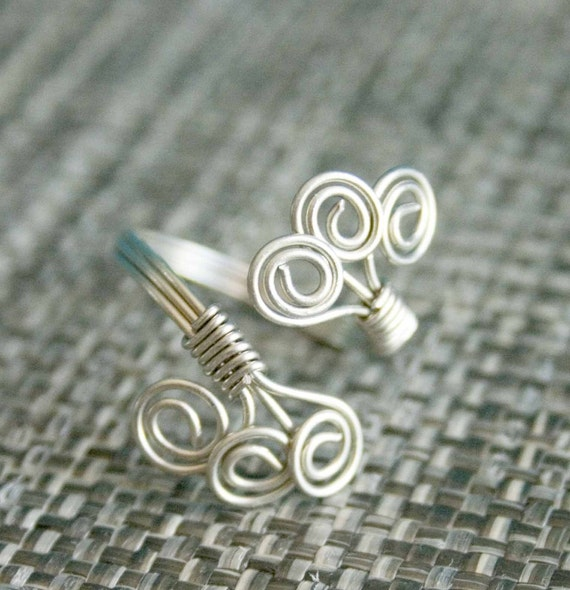 Silver Adjustable Ring, Silver Swirls Ring, Wire Wrapped Jewelry
