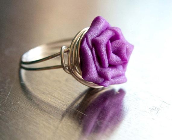 Violet Pearl Rose Ring, Gifts under 20, Bridal, Wedding