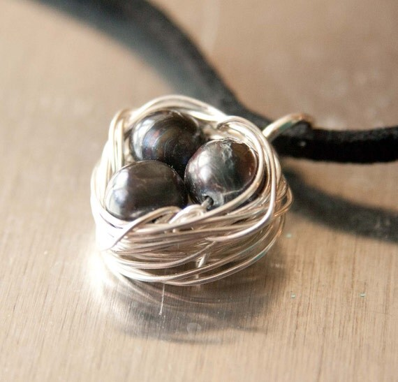 Peacock Pearl Birdnest Necklace, Gifts under 20