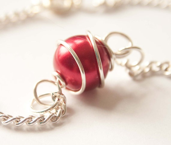 Swirled Red Pearl Anklet, Gifts under 10