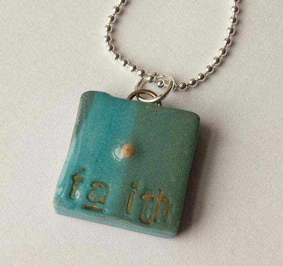 Faith Polymer Clay Pendant