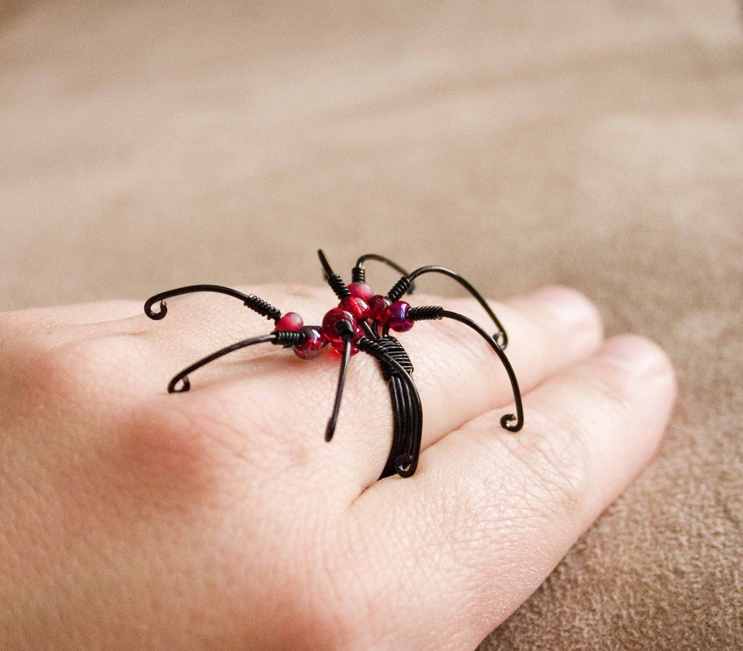 spider ring adjustable wire wrapped ring by hopefilledjewelry