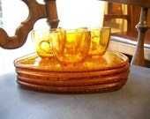 Daisy and Button vintage 1960's amber snack set from Indiana Glass
