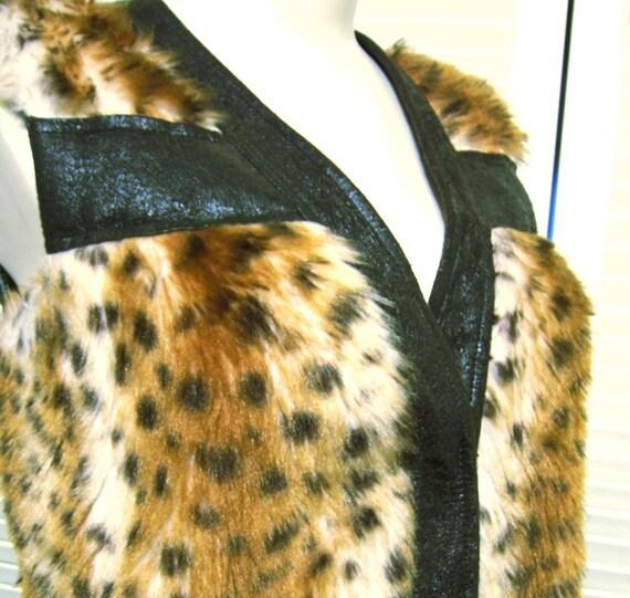 Cheetah Luv vintage 70's long faux fur vest