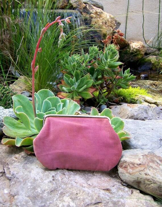 Raspberry Sherbet vintage velvet clutch by Audrey Talbott