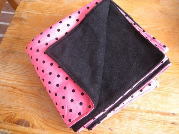 Hot Pink And Black Polka Dot Baby Blanket