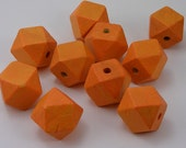 Orange Faceted Cube Wooden Beads 10 Pieces (WB40)