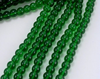 "Glass Beads CLOSEOUT SALE (GB3) Green 6mm Round Glass Beads - FIVE 11"" Strands approx. 50 beads per strand Bulk Glass Beads  JewelryCrafts"