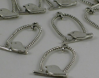 Bird Cage with Bird Silver Pendants CLOSEOUT SALE (MB17) 200 Pieces Bulk Pendant 32x18mm