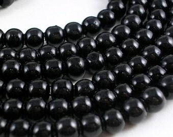 Glass Beads (GB40) 6mm Black Glass Beads Round Druk ONE strand 50 Beads