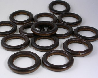 "Wooden Rings Dark Wood Color 41mm/1.5"" Diameter (WB51) 15 Pieces Donut Rings O-Ring Wood beads fro Jewelry Macrame Pendants"