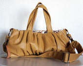 Petit Pomegranate Pleated Leather Bag in Mustard Colour