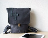 Canvas and Leather Handle Backpack -  Diaper Backpack in Upholstery Charcoal Grey Colour Canvas