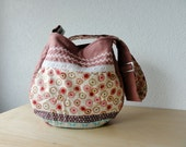 Large Quilted Hobo Bag in Pink European Linen and Japanese Fabric - One Of A Kind