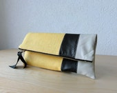 Leather Clutch in Italian Leather and Yellow European Linen - Indie Patchwork Series