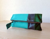 Leather Clutch in Italian Leather and Jade Green European Linen - Indie Patchwork Series