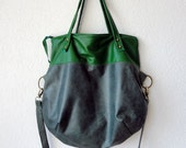 RESERVED - Leather Hobo Bag - Leather Tote Bag with Folded Top  in Two Tones Green Colour of Italian Leather