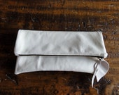 The Large Leather Clutch in White  Italian Leather - IPad Size Clutch