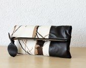 Leather Clutch in Dark Chocolate Italian Leather and European  Canvas - Indie Patchwork Series