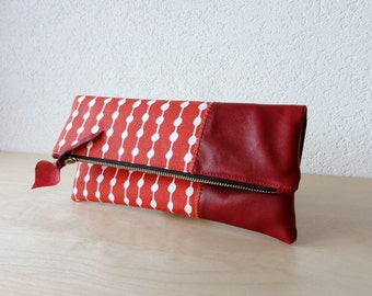 Leather Clutch in Red Italian Leather and European  Canvas - Indie Patchwork Series