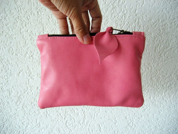 Leather Pouch - Italian Leather in Pink Colour