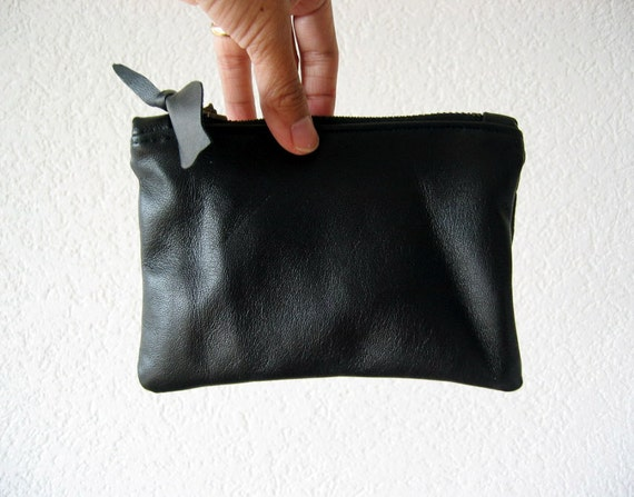 Leather Pouch - Italian Leather in Black Colour
