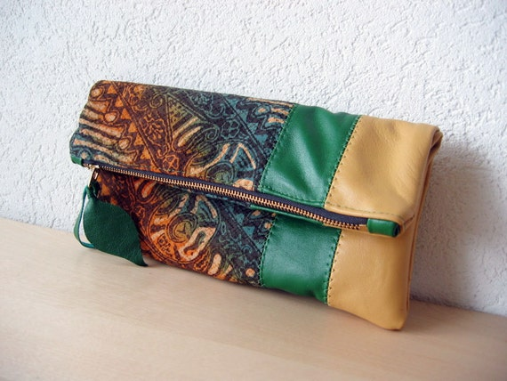 Leather  Clutch in Italian Leather and Handwoven Silk and Cotton Batik  - Indie Patchwork Series