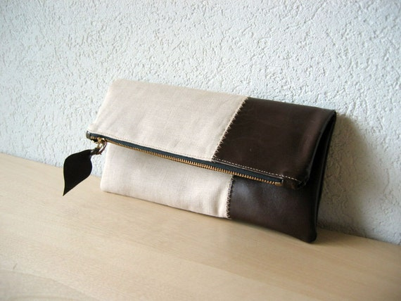 Leather Clutch in Dark Brown Italian Leather and Beige Linen - Indie Patchwork Series