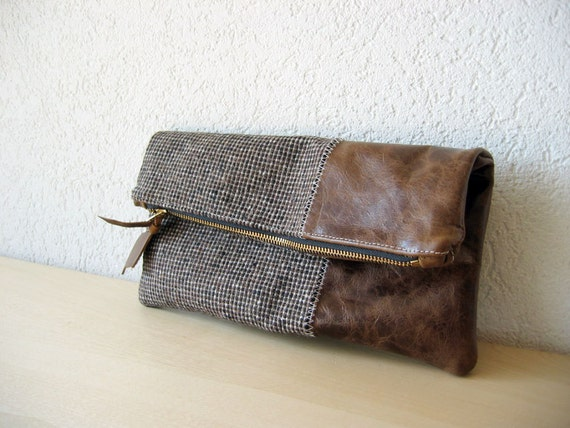 Leather Clutch in Dark Brown Italian Leather and European Wool - Indie Patchwork Series