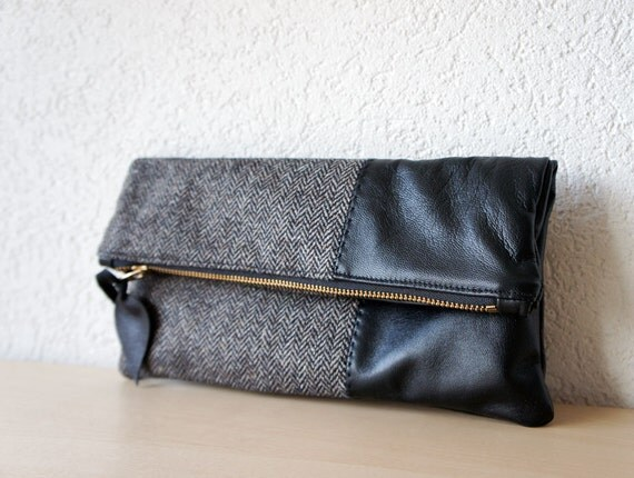 Leather Clutch in Black Italian Leather and European Wool - Indie Patchwork Series