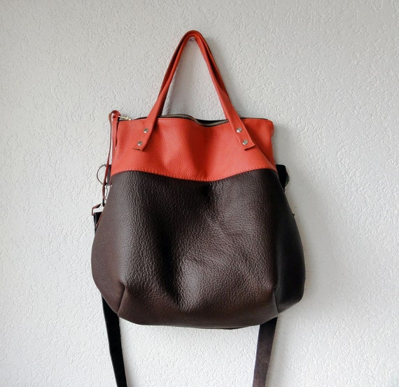 Leather Bag - Leather Hobo Bag - Leather Tote Bag with Folded Top  and  Zipper Closure  in Dark Brown and Orange Cow Leather