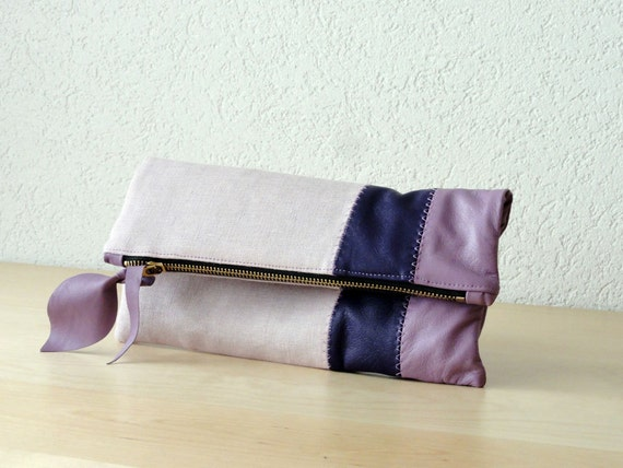 Leather Clutch in Italian Leather and Lavander Linen - Indie Patchwork Series