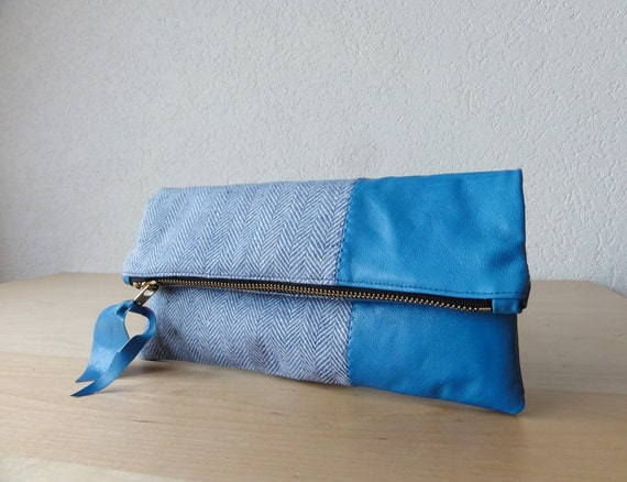 Leather Clutch in Royal Blue Italian Leather and European Washed Linen - Indie Patchwork Series