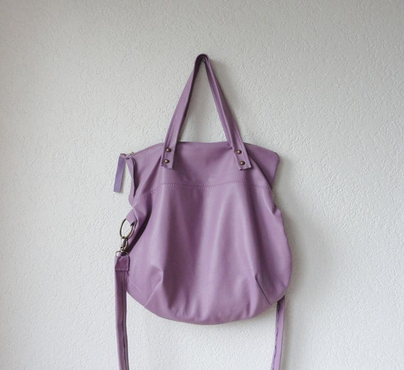 Leather Bag - Leather Hobo Bag - Leather Tote Bag with Folded Top  in Lavender Italian Leather