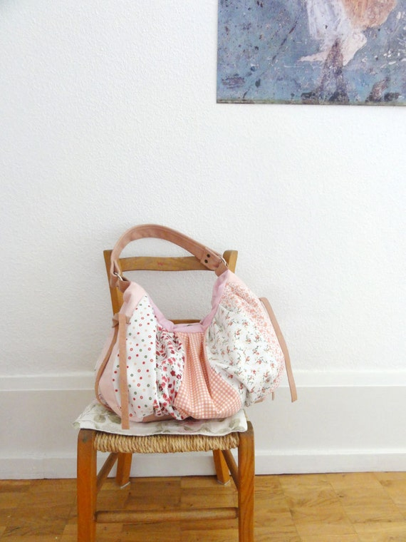 Modern Patchwork Pleated Bag with Italian Leather Handle in Pink - Le Jardin des Fleurs Series - One of A Kind