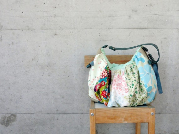 Modern Patchwork Pleated Bag with Italian Leather Handle - Le Jardin des Fleurs Series - One of A Kind